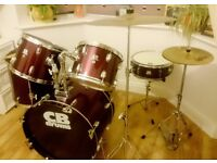5 piece CB drum kit (dark red) with upgraded Paiste hi-hat and cymbal, stool, practice pads & sticks