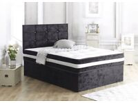 Luxury Crushed Velvet Divan Bed Sets with Memory Foam Mattress & Cubed Headboard (Free Delivery)