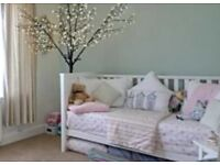 Beautiful Quality White Cot / Cot Bed & quality Mattress bought from Watts