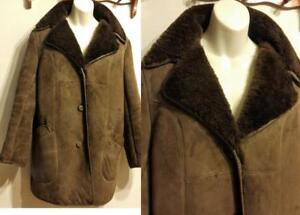 Rare Ladys L 100% Sheepskin Shearling Coat Vintage Retro  Womens LARGE UK16 FITS US 12-14 Brown Thick Warm Jacket Winter