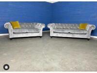 Designer 'Gosford' Velour Fabric Silver Grey Large 3 Seater Sofa + Small 2 Seater Sofa Set