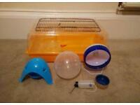 Hamster start up kit- cage, wheels, bedding, food, nest, bowls, bottle