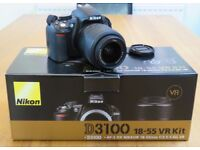 Nikon D3100 18-55 VR Camera for sale; used, complete, boxed, mint condition, FWO.