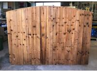 🥇 BOW TOP BROWN PRESSURE TREATED WOODEN GARDEN FENCE PANELS