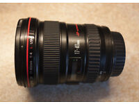 Canon 17-40 f4 L lens for full-frame or APS-C cameras, excellent condition, in original box
