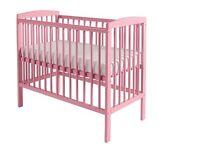 CAN POST 2 available £50 ea Pink / Pine Mini Kai Kiddicare Cot & Mattress Compact Space Saver Small
