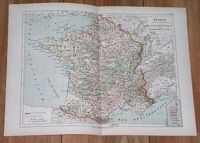 1887 ORIGINAL ANTIQUE MAP OF FRANCE / DEPARTMENTS / FORMER PROVINCES - 1887 Antique Map