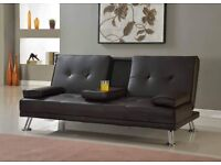 Unmatchable 3 Seater Sofa Bed | Made with Faux Leather | Includes Cupholder (Brown)