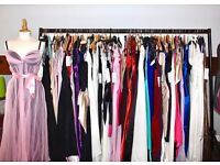 JOB LOT OF 100 NEW TOP QUALITY PROM, EVENING, CRUISE, PARTY DRESSES. TOTAL RETAIL VALUE £16,000.
