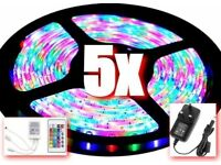 5X RGB LED LIGHTS WATERPROOF JOB LOT DIY LIGHTING 5M LIGHT STRIPS 300 BULBS FOR HOME AND CAR