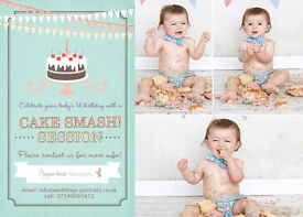 A perfect gift! First Birthday Baby Cake Smash Photography just £25 with free print included