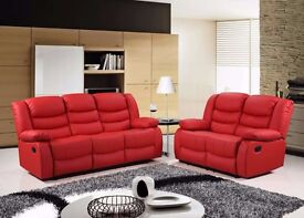 Robert Luxury Bonded Leather Recliner Sofa Set With Pull Down Drink Holder