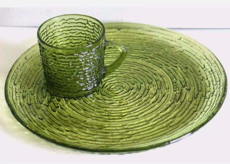 1960s Anchor Hocking Avocado Green Soreno Glass Snack Set Plate and Coffee Cup