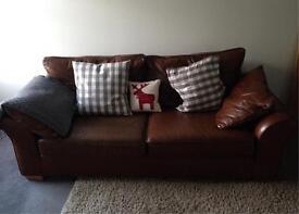 Next Leather Three Seater Sofa
