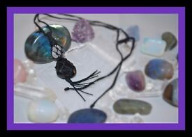 Handmade Obsidian And Clear Quartz Netted Tassel Adjustable Necklace