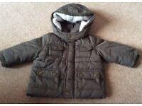 Baby Gap Khaki Hooded Winter Jacket 6 - 12 Months - £4 - Bargain