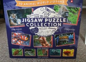 Fabulous set of 10 animal jigsaw puzzles (1000, 750 + 500 pieces) BARELY USED
