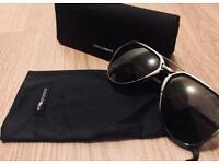 d9a4eb0efb2 Dolce   Gabbana gunmetal metal sunglasses with grey polarised lenses.