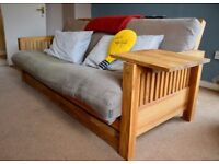 Top of Range Futon Company Solid Oak 3-Seat 'Oke' Bifold Sofa Bed - Brand New Cover included
