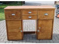 Vintage oak wooden cabinet counter with draws and cuboards