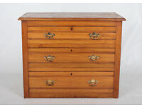 Antique Victorian Chest of Drawers *FREE LOCAL DELIVERY* Satin Walnut Bedroom Chest
