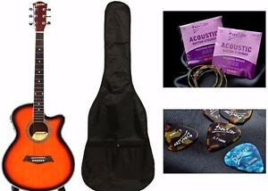 Acoustic Electric Guitar for beginners Sunburst 40 inch iMusic227 Free Bag String set 5 picks
