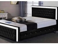 """Double Bed 4""""6 Black Princess BED with Mattress"""