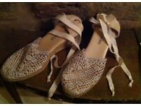 Russell&Bromley Espadrilles in lacy cream cotton. Wedgeheels 2.75inch/ 7cm