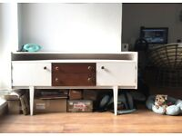 White and Teak Mid Century Vintage Sideboard 1950s Original Retro Record Buffet Excellent Condition