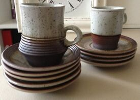 Job Lot Eleven items vintage/original 1970s Purbeck Pottery Portland pattern mugs and saucers