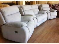 FV Moreno - 2+1+1 Light Blue Fabric ELECTRIC RECLINER Sofa Suite