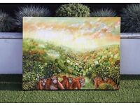 "Art work: ""A Safe Place"" Uber Special Original Oil Painting By Yaja Kindermann: Orangutans Borneo"
