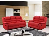 Romeo Luxury Bonded LEather Recliner Sofa Set With Pull Down Drink Holder