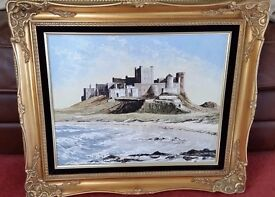 original oil painting in gold swept frame, signed