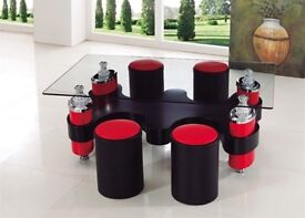 Glass & leather coffee/tea table with stools