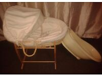 Unisex Moses Basket With Stand And Baby Bath