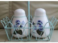 "Pretty china SALT & PEPPER POTS 4"" H. in decorative holder with handle, white floral design, gc"