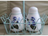 Pair CHINA SALT & PEPPER POTS in decorative pastel green holder with handle. good condition