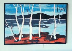 "Oakville  ORIGINAL Framed Art Painting Large 30x45"" Valerie Koudelka Oakville Group of Seven 7 Inspiration Tom Thomson"