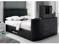 KINGSIZE TV LEATHER BED FRAME + FREE QUILT £299 *HOLDS UP TO A 40 INCH TV - SAME DAY DELIVERY