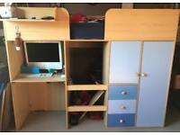 boys bedroom set - cabin bed, chest of drawers and stotage unit