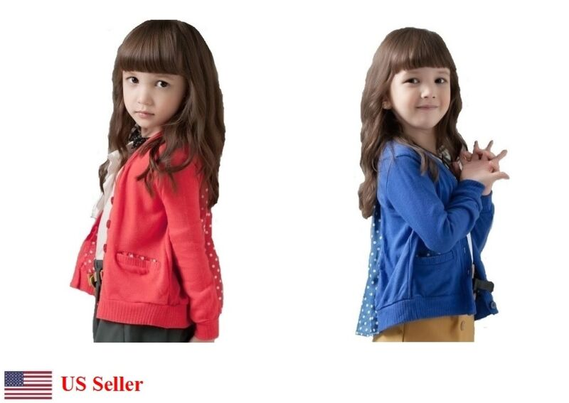 Kids Girls Lightweight Cotton Jacket Cardigan Sweater Outwear Polka-Dot