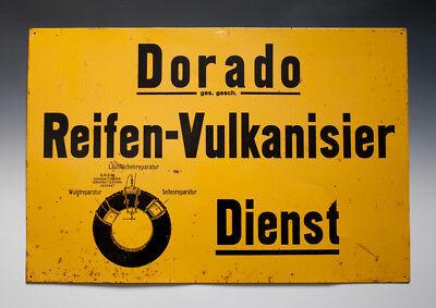 Blechschild Dorado Reifen-Vulkanisier Dienst vermutlich um 1925 !?