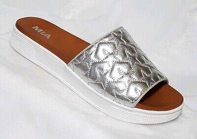 MIA Starlet Metallic Silver Star Quilted Open Toe Slip On Slide Sandal Sz - Starlet Slip