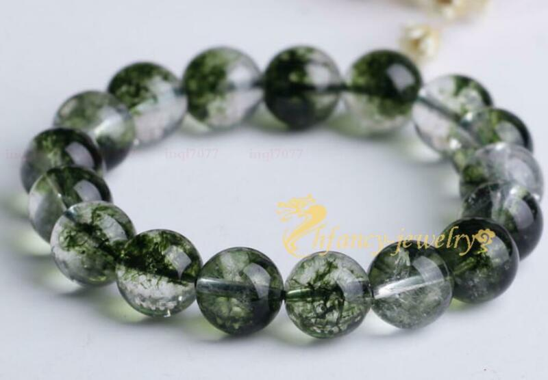 10mm green ghost crystal Gemstone Mala Stretchy Bracelets Wristband Lucky