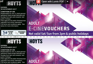 Hoyts Movie Tickets for Adults Sandy Beach Coffs Harbour Area Preview
