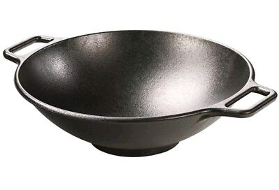 The Lodge Black Frying Seasoned Cast Iron Wok Pan Fry Oven Safe Made in USA