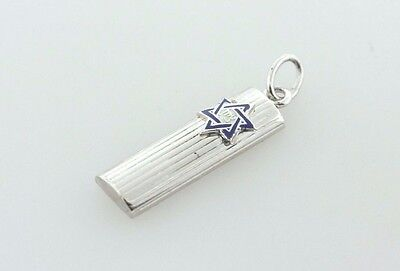 Sterling Silver 925 Mezuzah with Blue Enamel Star of David Charm Pendant