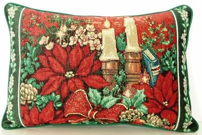 Christmas - Poinsettias & Candlesticks, Bow, Gold highlights Tapestry Pillow New