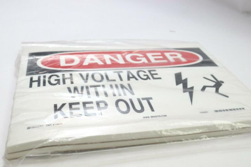 """Pack of 2 - Brady DANGER High Voltage Within Keep Out Sign 10"""" x 14"""""""